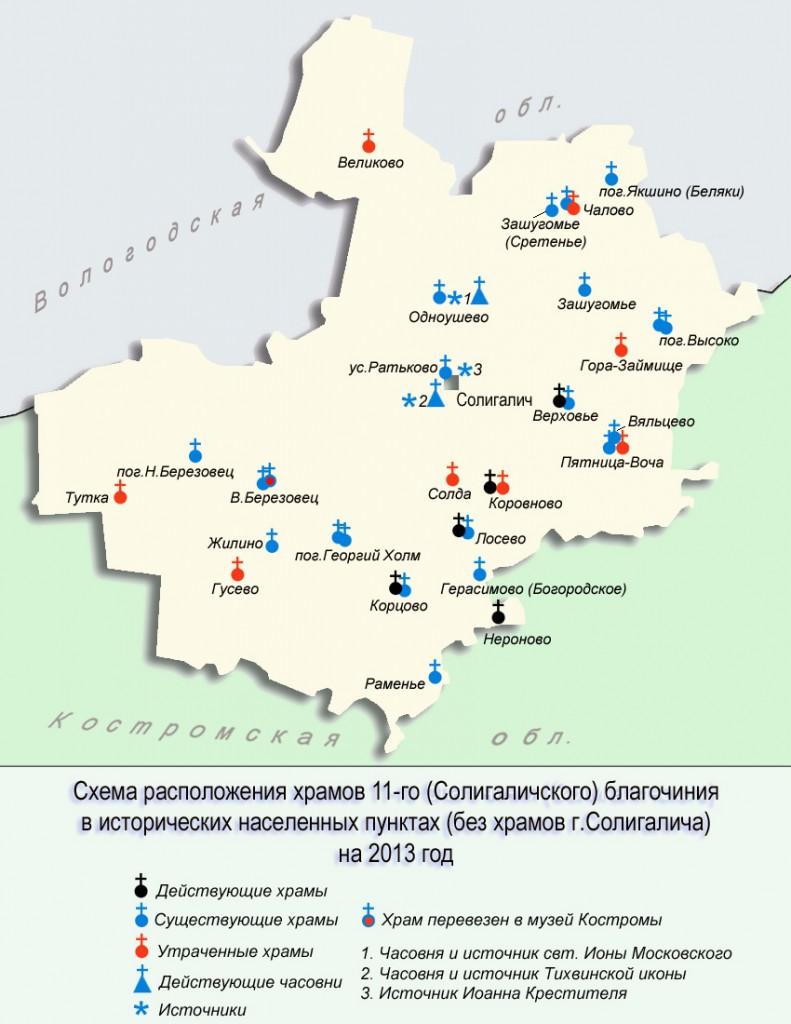 Карта, схема храмов Солигаличского благочиния.